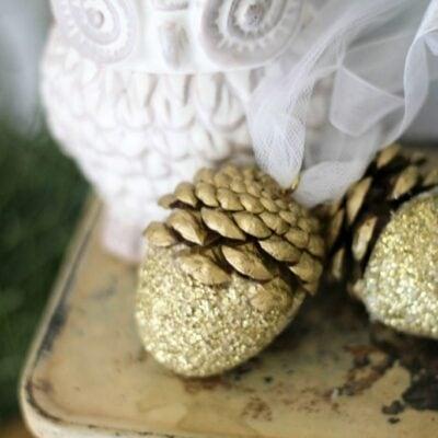 Glitter acorn Christmas ornaments