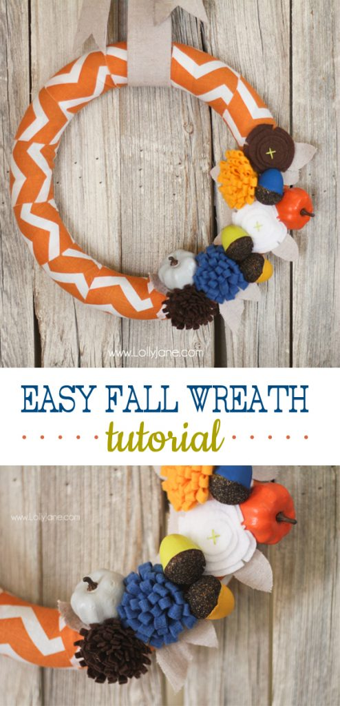 Easy fall wreath tutorial with cute felt flowers + painted acorns and pumpkins! #fall #wreath