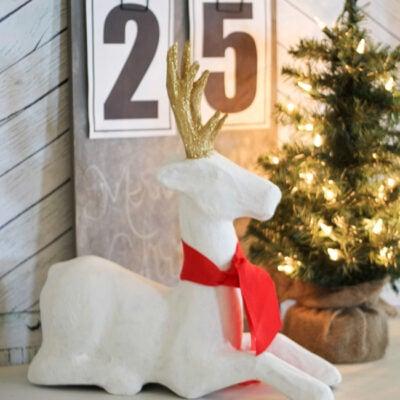 gold antler reindeer makeover