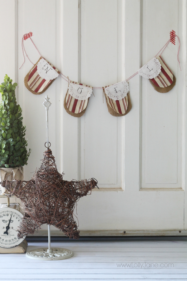Quick Christmas NOEL doily bunting, so cute + fast to make!! #diy #christmasdecor