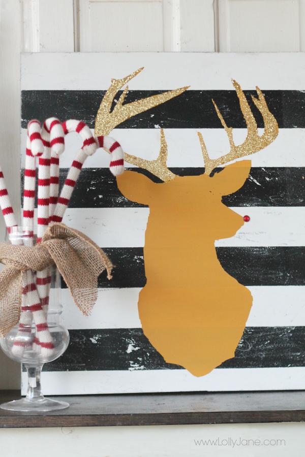 Glitter reindeer head art #diy #deerhead