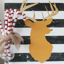 glitter antler reindeer head art