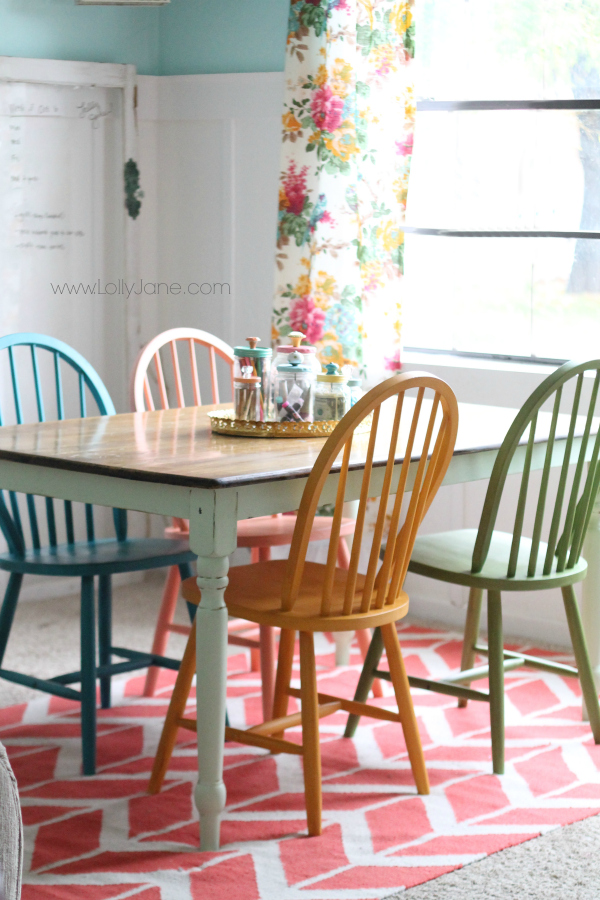 Gorgeous craft room! Link to chalky painted chair redo on www.lollyjane.com