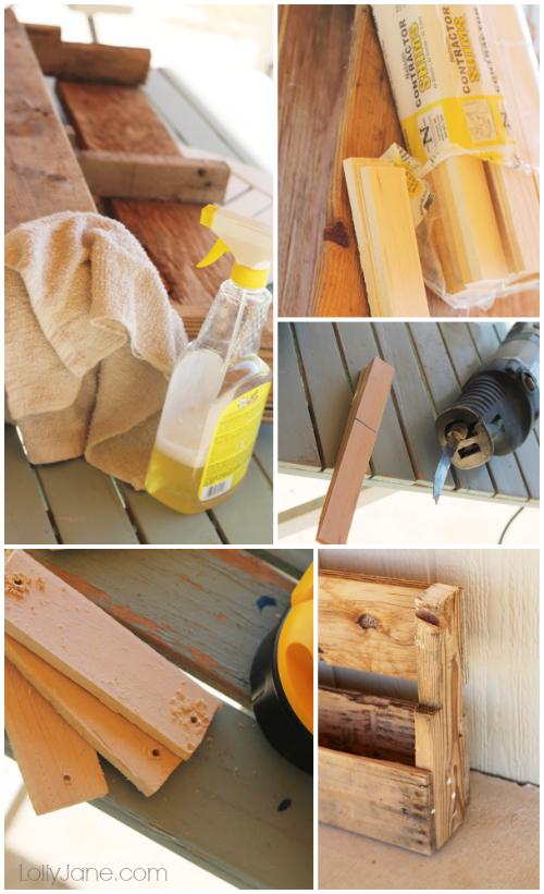 How to make a pallet bookshelf! Two cuts, that's it! #diy #palletbookshelf {www.lollyjane.com}