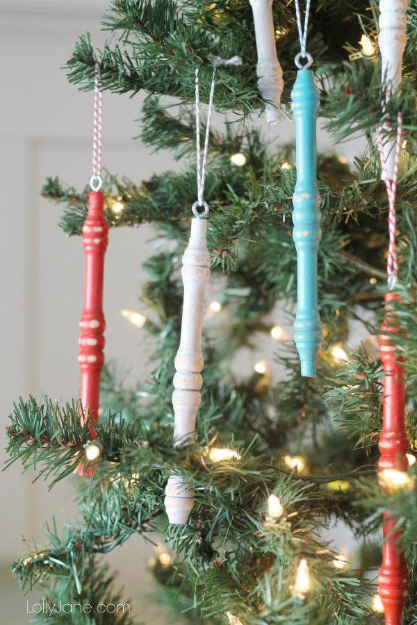 Trash to treasure: spindle ornaments!