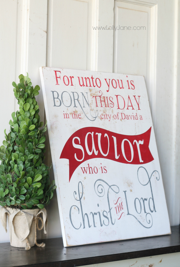 Unto us a Savior is born, easy sign on www.lollyjane.com