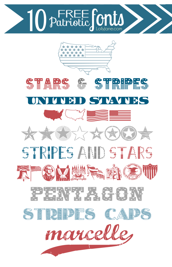 10 FREE Patriotic 4th of July Fonts! Love these! via @lollyjaneblog
