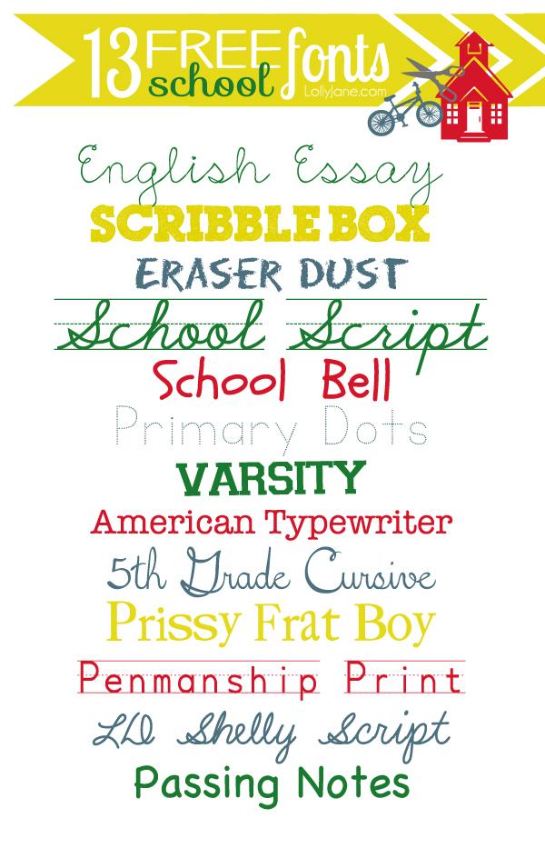 13 FREE school fonts