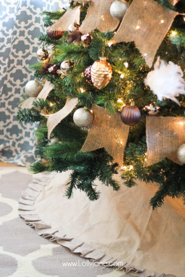 Pretty Deer Christmas Tree with Ruffled Tree Skirt