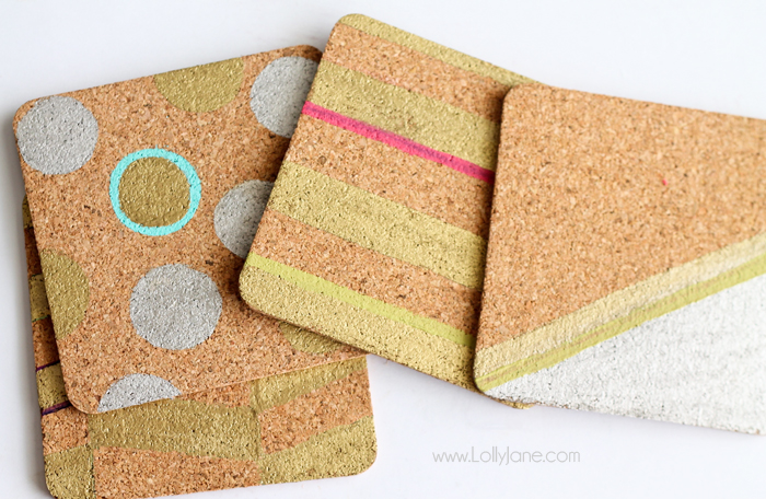 Cool Modern Color Block Cork Coasters