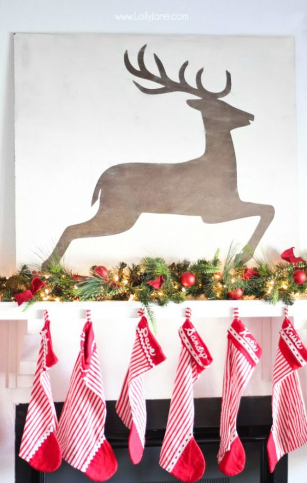 DIY Christmas Deer Wall Art