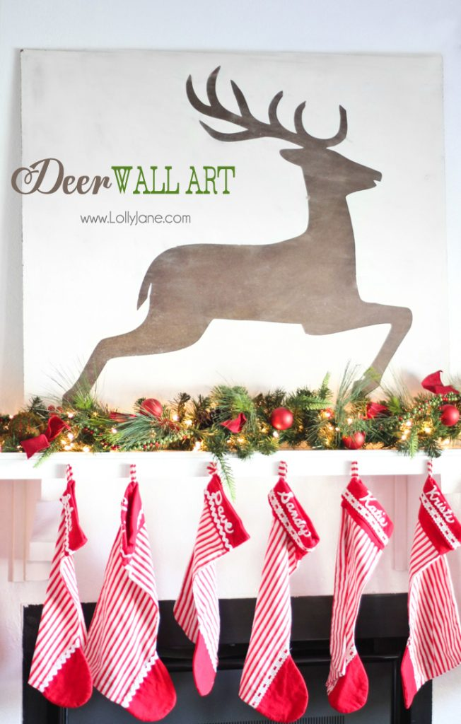 christmas deer wall art - Christmas Wall Art Decor