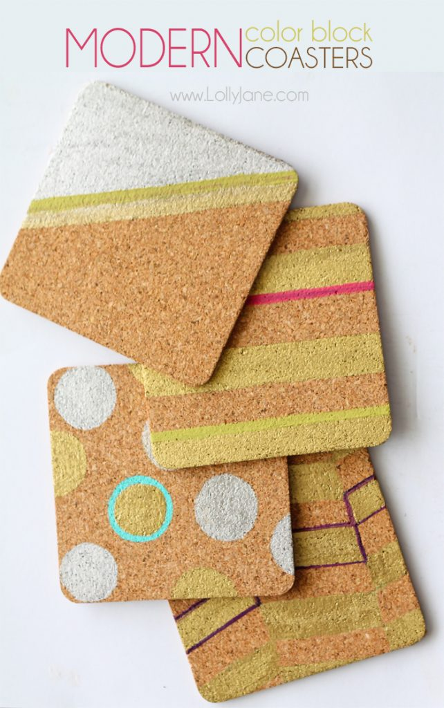 Cool Modern Color Block Cork Coasters