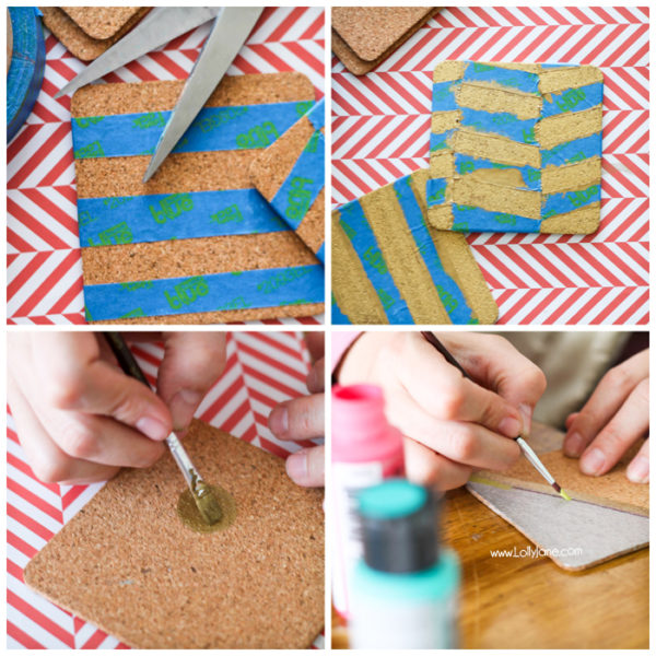 Cool tutorial to make painted cork coasters