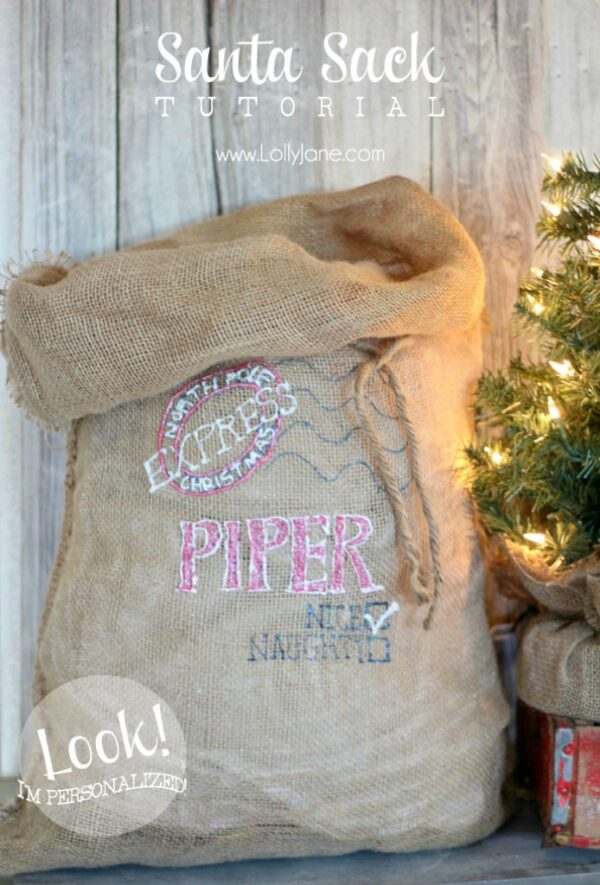 Cute personalized Santa sack to put under the tree Christmas morning