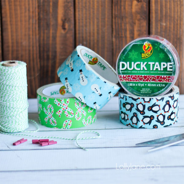 Supplies to make a fun Christmas tree bunting from Duck Tape!
