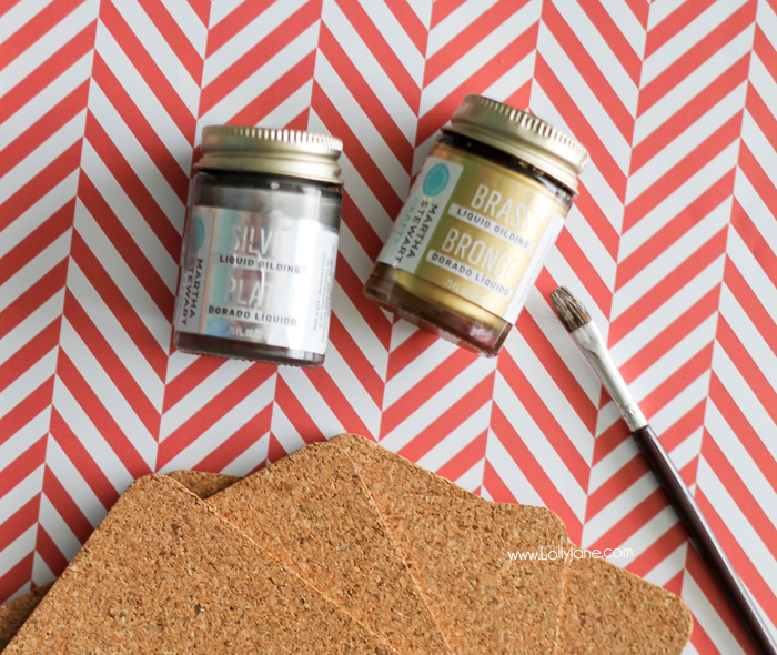 Supplies to make cute modern painted cork coasters