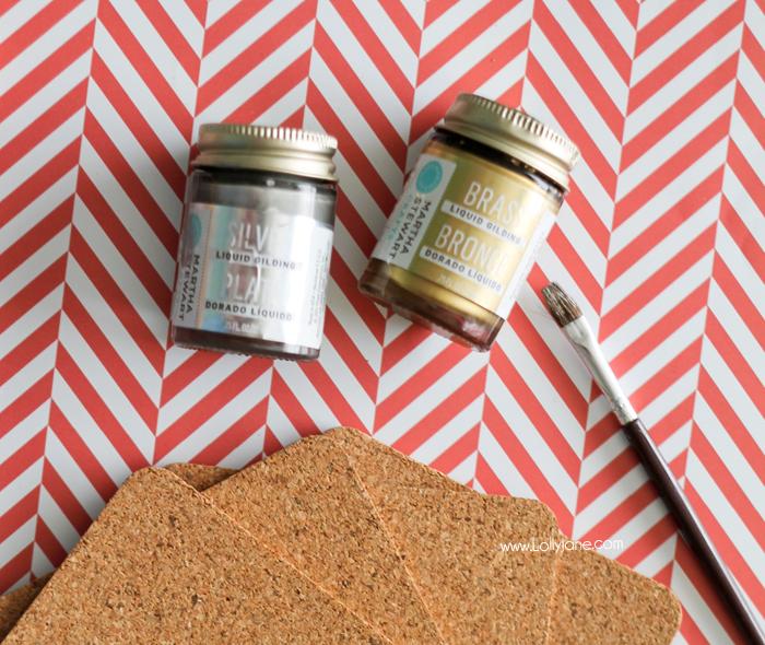 Supplies to make cute modern painted cork coasters