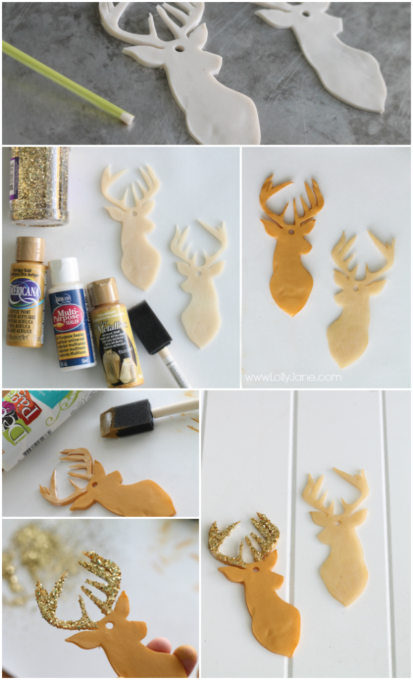 How to make clay deer head ornaments tutorial via lollyjane.com