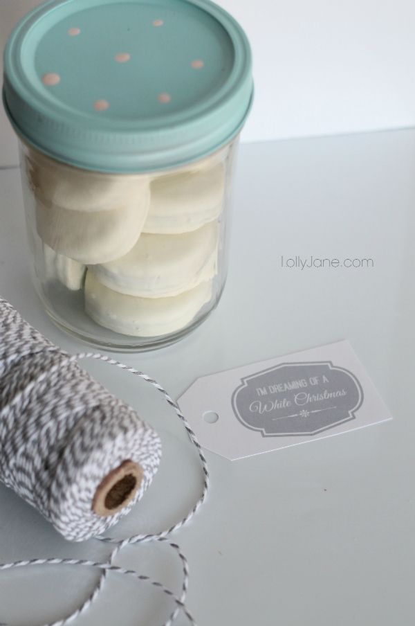 White Christmas free tags + Oreo treat jar idea! No bake!! via lollyjane.com