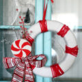 Pretty striped peppermint wreath, easy to make!! Full tutorial at lollyjane.com