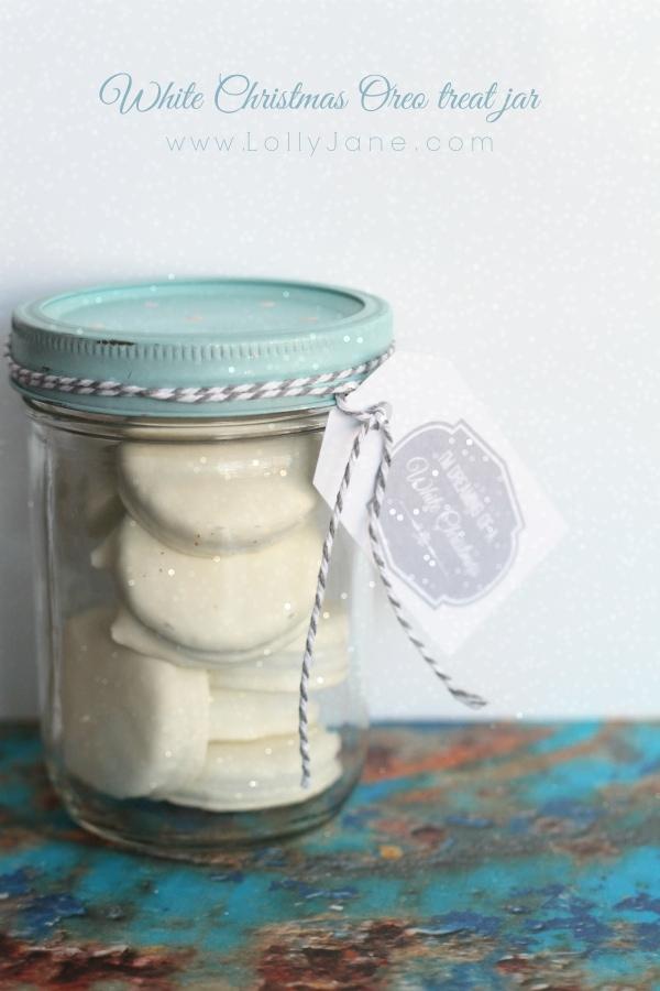 White Christmas free tags + Oreo treat jar idea! No bake!! via lollyjane.com
