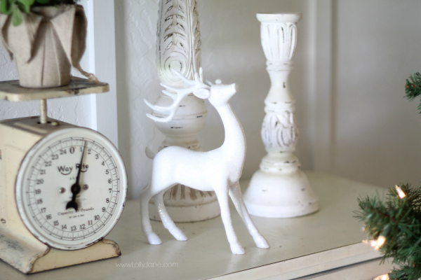 Mix a glitter white deer into your Christmas decor at lollyjane.com