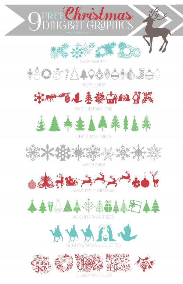 9 super cute (FREE) Christmas dingbat graphics