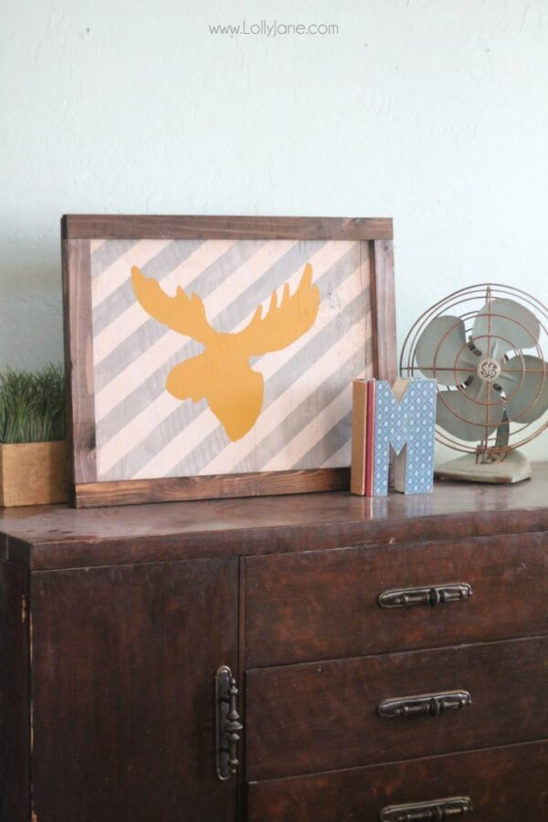 Fun striped moose head framed sign tutorial