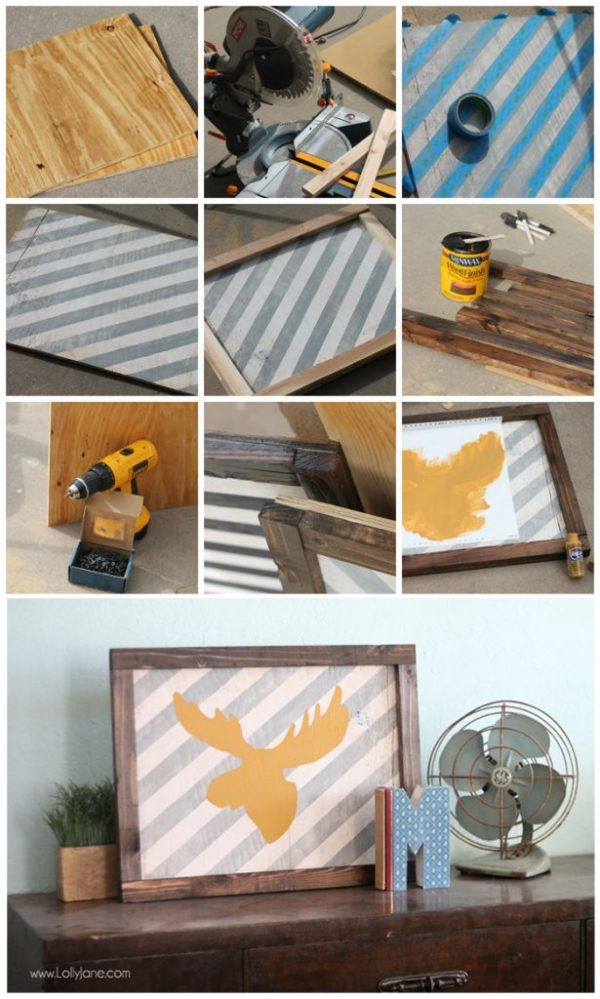 How to make a distressed striped frame sign. Love the cute moose head on this one!