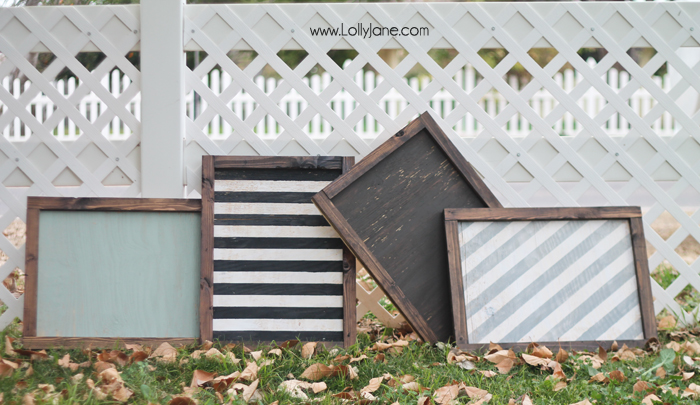 Cute plain and striped distressed signs, ready to display!