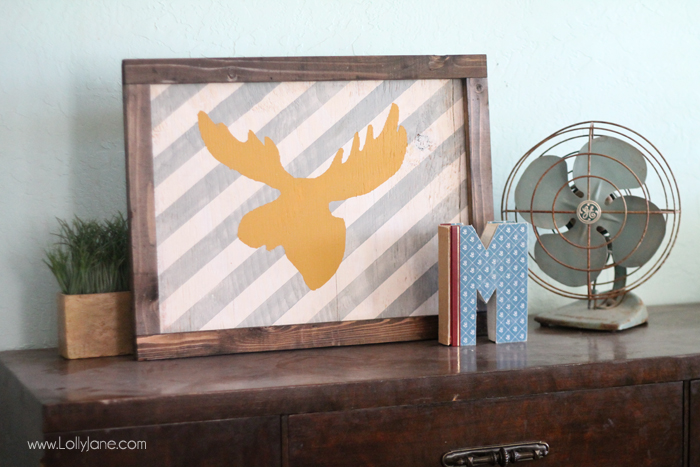 Striped moose head layered sign. Too cute!