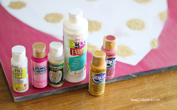 Supplies to make a cute glitter heart sign for Valentine's Day #polkadots