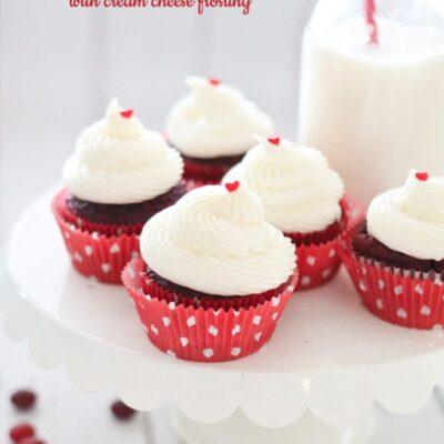 Red Velvet M&M Cupcakes
