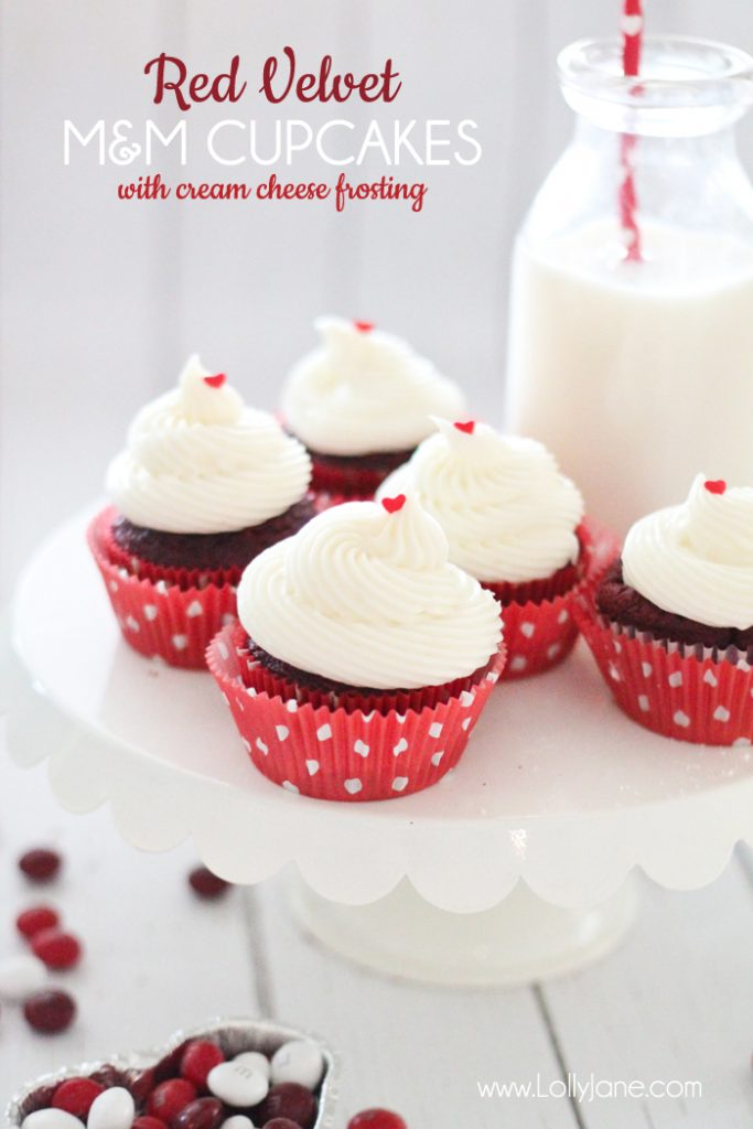 Red Velvet Cupcakes with Red Velvet M&M bits inside... and cream cheese frosting! YUM!