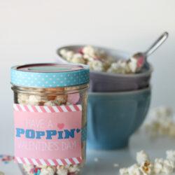 Valentine popcorn mix recipe + free tags