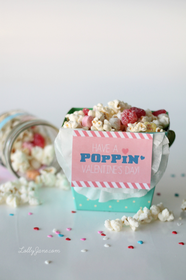 "Valentine Popcorn Mix Recipe PLUS free ""Have a POPPIN Valentine's Day"" tag!! Great gift idea!! (lollyjane.com)"