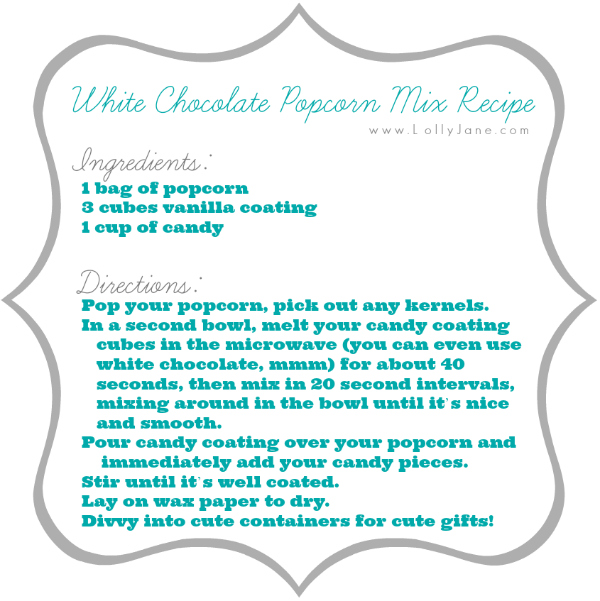White Chocolate Popcorn Mix Recipe via lollyjane.com