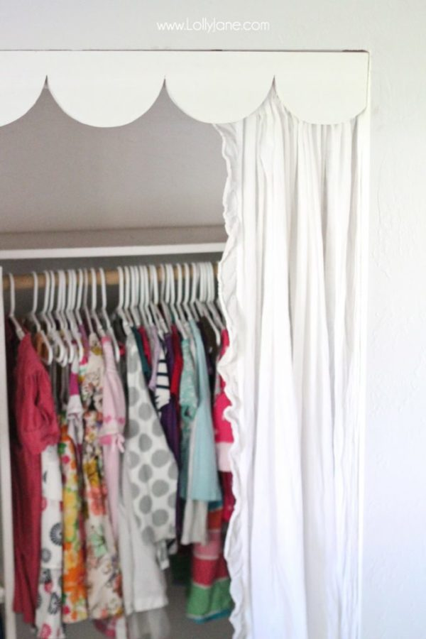 Scallop trim over curtains- easy solution to no closet doors