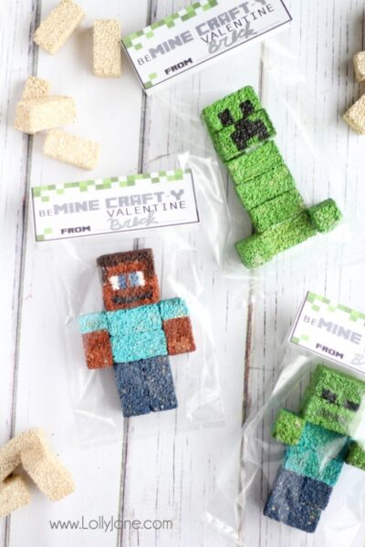 Minecraft Valentines / FREE Printable Bag Toppers #Minecraft
