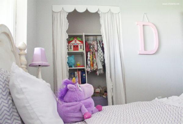 Cute closet idea, nix the doors for scallop trim + curtains