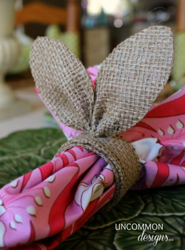 DIY Burlap Bunny Napkin Rings + 26 other cute Easter/spring ideas! via lollyjane.com