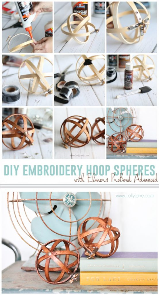 DIY Embroidery Hoop Spheres. Easiest decor you'll ever make! Look how wood embroidery hoops turn into easy home decor craft ideas! Love these wood spheres!