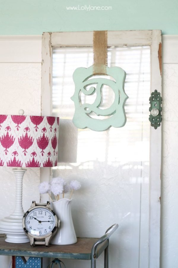 Faux plaster monogram decor. Made from foam- cool!