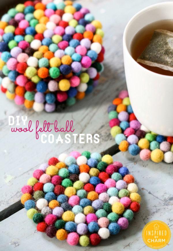 Felt Wood Ball Coasters