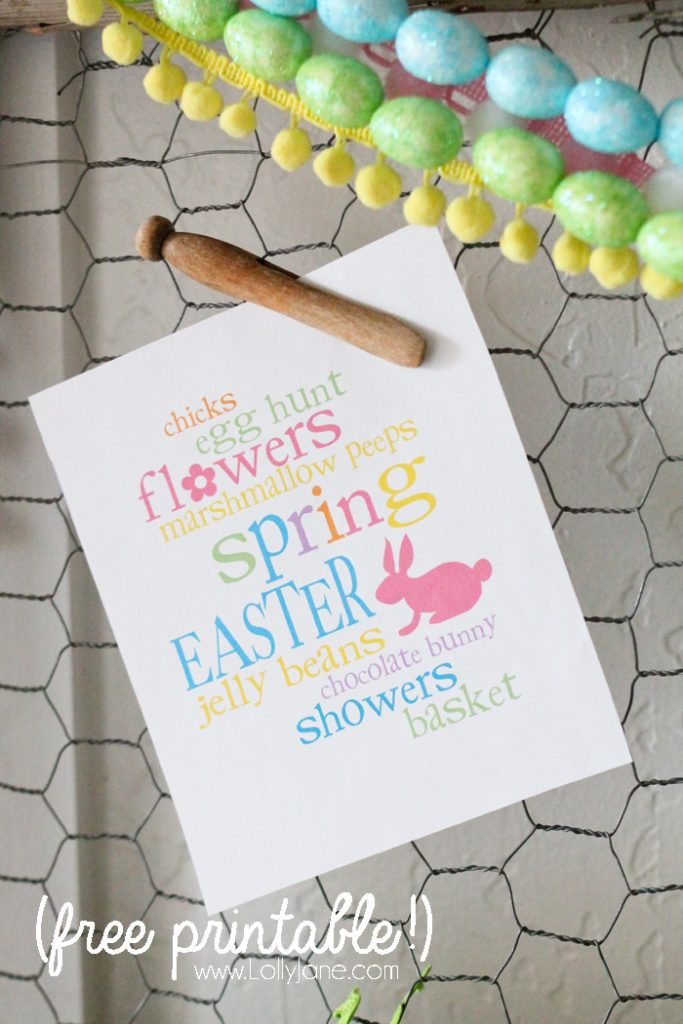 Cute Easter printable + $5 Easter egg garland!