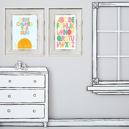 Printable childrens art. FREE 8x10 prints via www.lollyjane.com