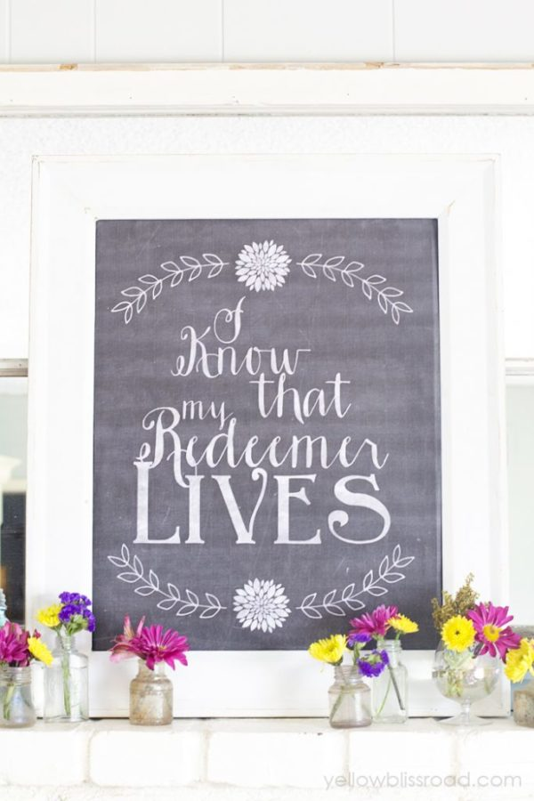 Mantel Chalkboard Easter printable