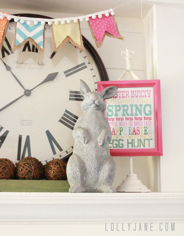 Super easy (and cute) DIY pom pom burlap garland. Perfect to hang for spring/Easter!
