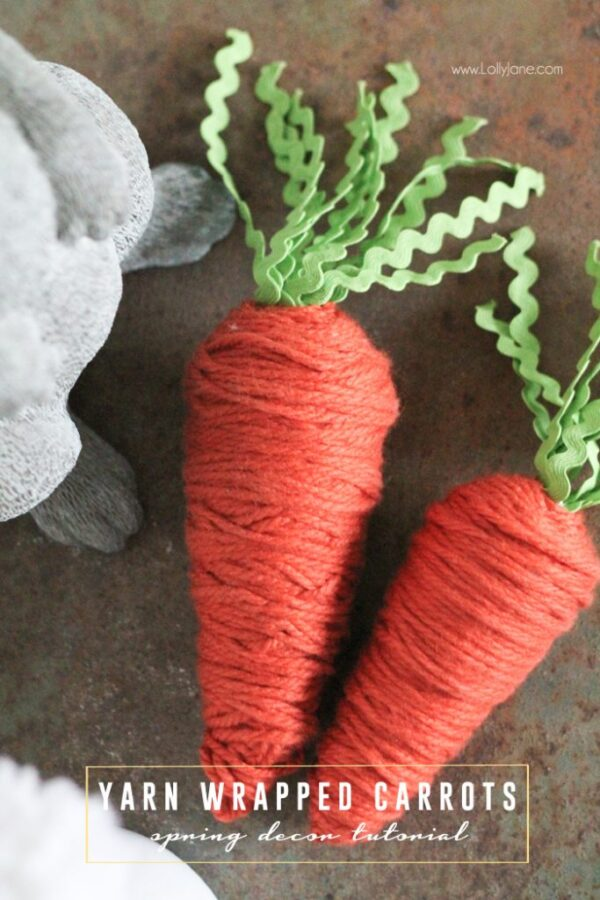Stinkin' cute! Yarn wrapped carrots from foam cones. Perfect for spring!